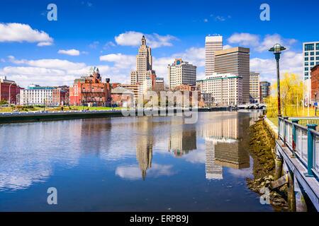 Providence, Rhode Island, USA city skyline on the river. - Stock Photo