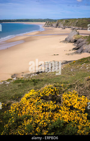 Three Cliffs Bay on the Gower Peninsula in Wales, Great Britain - Stock Photo