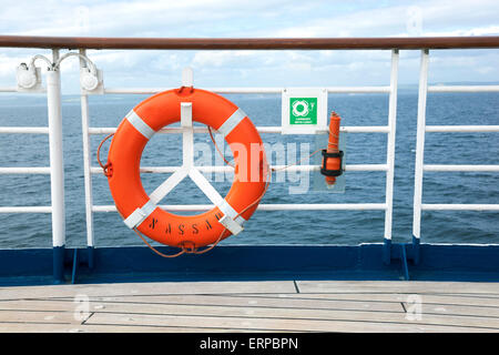 Lifebuoy onboard a cruise ship - Stock Photo