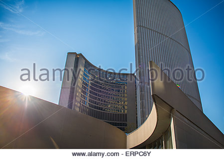 The Modernist architecture of the New City Hall in Nathan Phillips Square in day light afternoon.   Perspective - Stock Photo