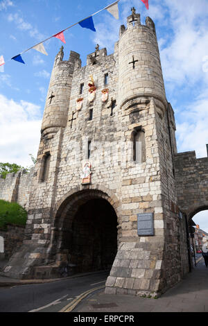 Micklegate Bar on the York City Walls is the southern entrance to York in England - Stock Photo