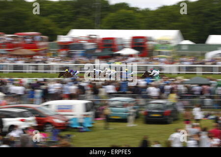 Epsom Downs, Surrey, UK -  6th June, 2015  Racing at speed at The Derby - Stock Photo