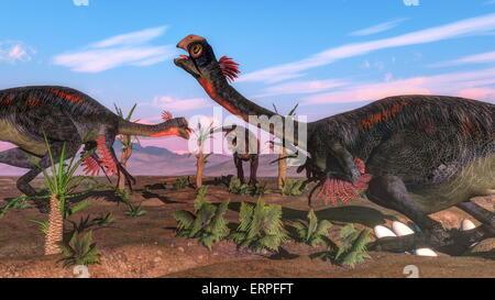 Tyrannosaurus rex attacking gigantoraptor dinosaurs and eggs  by day - 3D render - Stock Photo