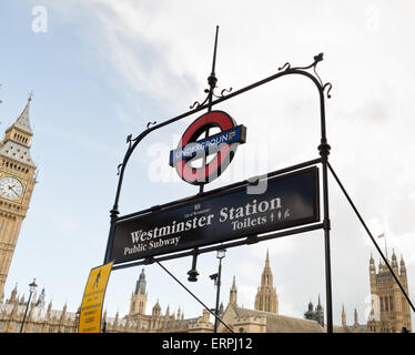 Westminster Station underground sign - London, Great Britain, Europe - Stock Photo