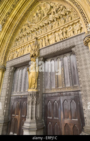 Westminster Abbey north gate - London, Great Britain, Europe - Stock Photo