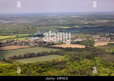 aerial view of Thurston, Suffolk, UK - Stock Photo