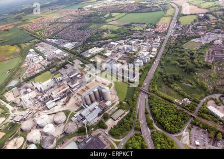 aerial photo of Bury St Edmunds - Stock Photo