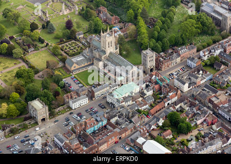 Aerial photo of Bury St Edmunds showing the St Edmundsbury Cathedral - Stock Photo