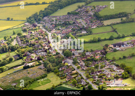 aerial photo of Gazeley village in Suffolk, UK - Stock Photo