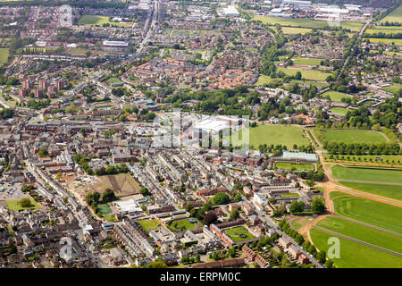 aerial view of Newmarket town centre in Suffolk,  UK - Stock Photo