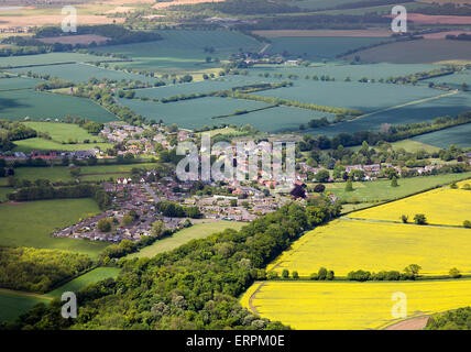 aerial photo of Gazeley village Suffolk - Stock Photo