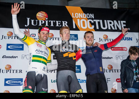 London, UK. 6 June 2015.  (L to R) Steele Von Hoff (2nd), Ed Clancy (1st) and Chris Lawless (3rd) on the podium - Stock Photo
