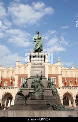 Poland, Krakow, Old Town, Adam Mickiewicz Monument - Polish Romantic poet and Cloth Hall (Sukiennice). - Stock Photo