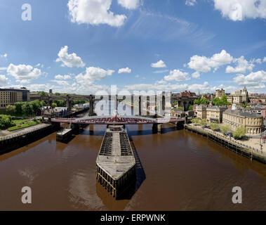 River Tyne and the Swing Bridge between Newcastle and Gateshead - Stock Photo