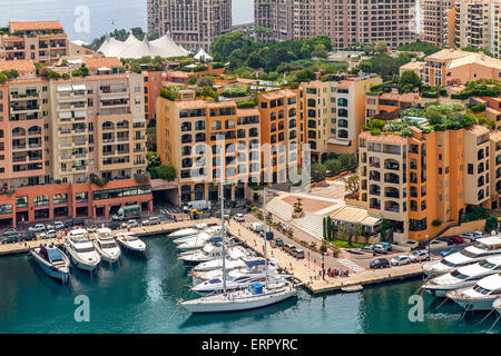 View from above on small marina and modern building of Monaco. - Stock Photo
