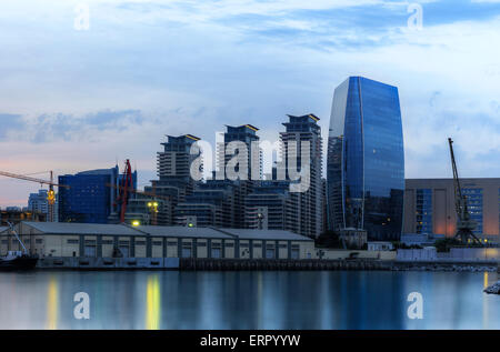 Modern buildings and the port in Baku (Azerbaijan) - Stock Photo