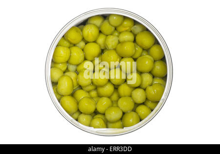 Tin with green peas isolated on a white background. - Stock Photo