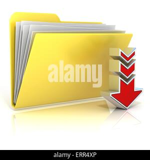 Download folder icon, isolated on white background - Stock Photo