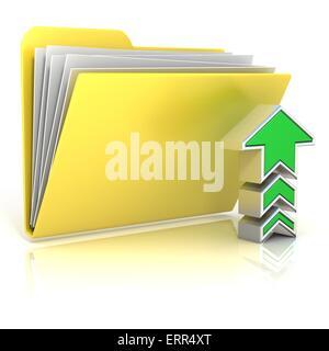 Upload folder icon, isolated on white background - Stock Photo