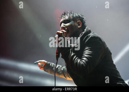 Nuremberg, Germany. 06th June, 2015. US American singer Marilyn Manson performs on stage at the 'Rock im Park' music - Stock Photo