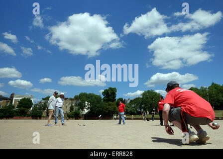London, UK. 7th June, 2015. The Londonaise 2015 Petanque Tournament reached its final stage in Islington, London - Stock Photo
