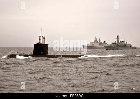The Swedish Navy attack submarine HMS Gotland and the Royal Netherlands Navy De Zeven Provincien class frigate HNLMS - Stock Photo