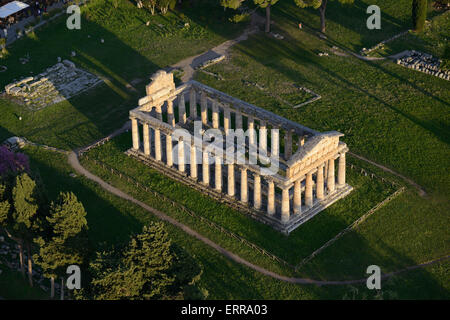 GREEK TEMPLE OF ATHENA (aerial view). Paestum, Campania, Italy. - Stock Photo