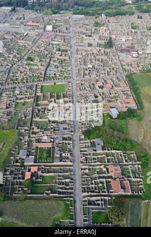 ANCIENT CITY OF POMPEII (aerial view). Metropolitan city of Naples, Campania, Italy. - Stock Photo