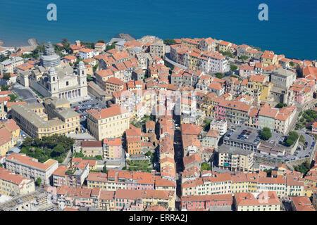 OLD TOWN OF PORTO MAURIZIO (aerial view). Imperia, Liguria, Italy.