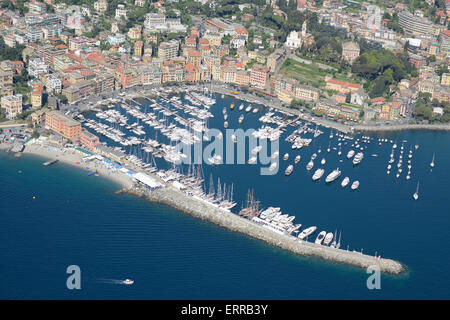 MARINA OF SANTA MARGHERITA LIGURE (aerial view). Province of Genoa, Liguria, Italy. - Stock Photo