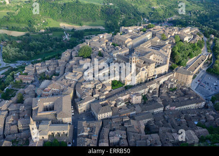 CITY OF URBINO (aerial view). UNESCO World Heritage Site in the Marche Region of Italy. - Stock Photo