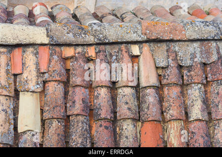 Old tiled roof detail from the old walled city of Dubrovnik - Stock Photo