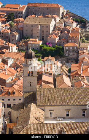 Looking down on the old wall city of Dubrovnik in croatia on the Adriatic coastline. - Stock Photo
