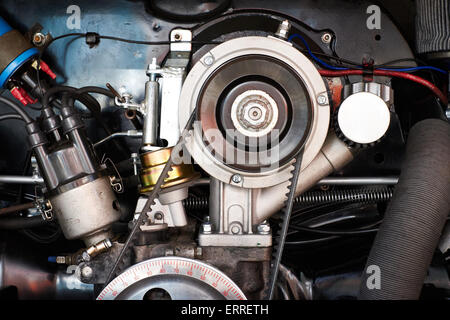 Abstract of an air cooled VW camper engine at the Skipton Car Show 2015 - Stock Photo