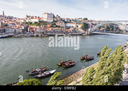view of ponte luis over river douro and porto from cable car - Stock Photo