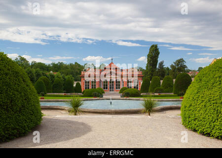Beautiful garden near the Cernin palace in Prague, Ministry of Foreign affairs - Stock Photo