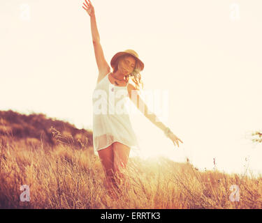 Fashion Portrait of Young Hipster Woman at Sunset, Retro Style Color Tones