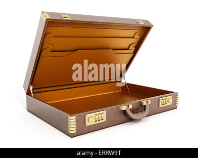 Open empty vintage briefcase isolated on white background - Stock Photo
