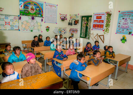 Class room in Cat Cat Village in the Muong Hoa valley near Sapa, Vietnam home to the black hmong tribe - Stock Photo
