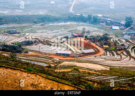 Cat Cat Village in the Muong Hoa valley near Sapa, Vietnam home to the black hmong tribe - Stock Photo