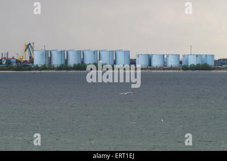 Tanks of oil terminal harbor