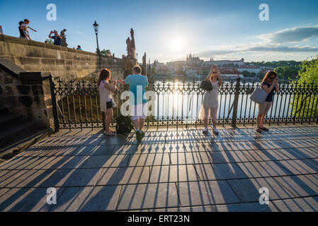 Krizovnicke namesti near Charles bridge, Prague, Czech republic, Europe - Stock Photo