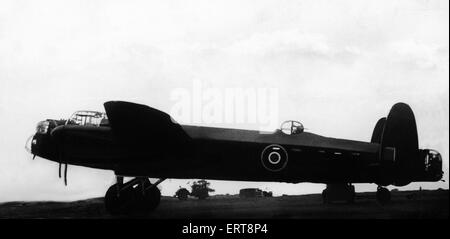 Avro Lancaster bomber of the Royal Air Force during the Second World War.  Circa 1943. - Stock Photo