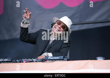 Manchester, UK. 6th June, 2015.  Craig Charles DJ'ing live on stage  at The Parklife two day festival 2015 at Heaton - Stock Photo