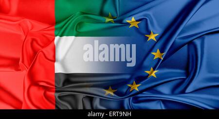 European Union and United Arab Emirates. - Stock Photo