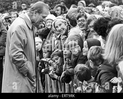 Prince Phillip the Duke of Edinburgh seen here chatting with the crowds gathered in Saltburn  Gardens to celebrate - Stock Photo