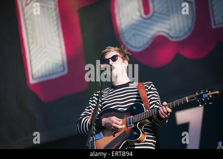Manchester, UK. 6th June, 2015.  George Ezra performing live on stage  at The Parklife two day festival 2015 at - Stock Photo