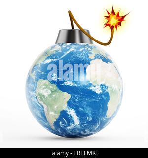 Earth bomb with burning fuse isolated on white background - Stock Photo