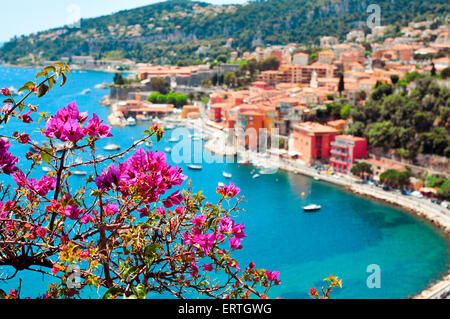 aerial view of Villefranche-sur-Mer in the French Riviera, France, and the Mediterranean sea - Stock Photo
