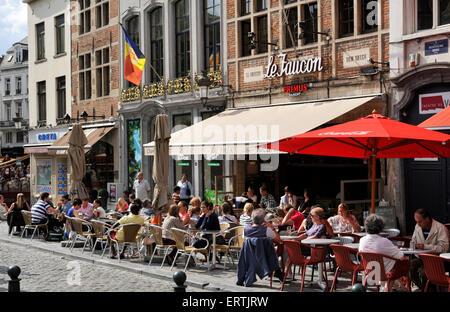 belgium, brussels, rue de la montagne, outdoor cafe - Stock Photo